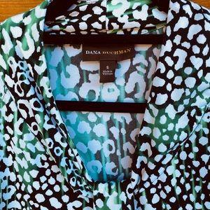 Dana Buchman Tops - Dana Buchman green and black leopard print blouse